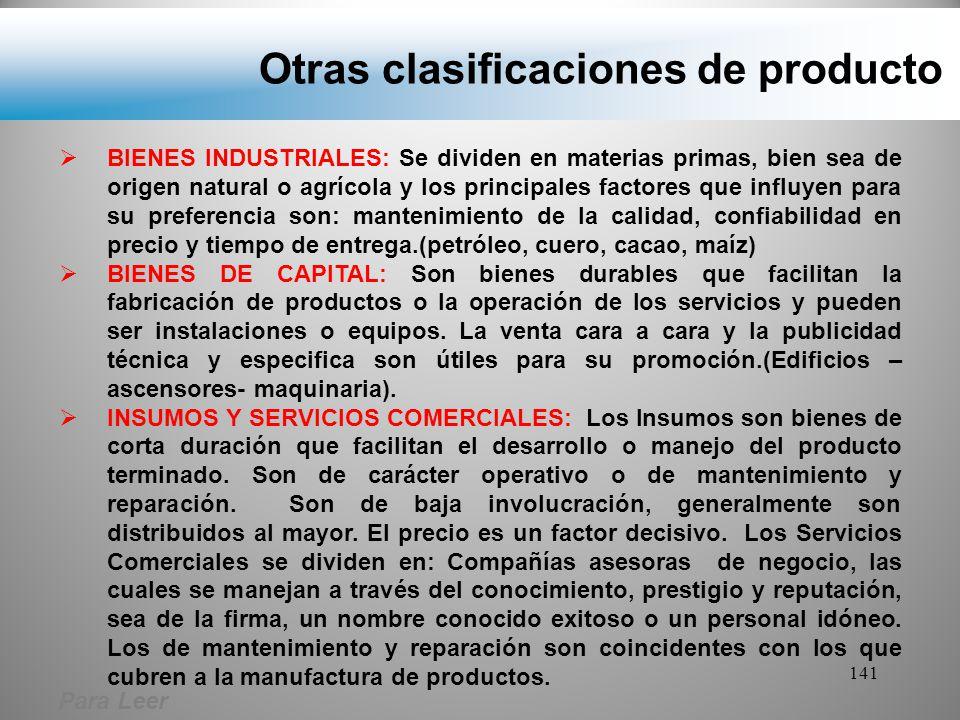 Otras clasificaciones de producto