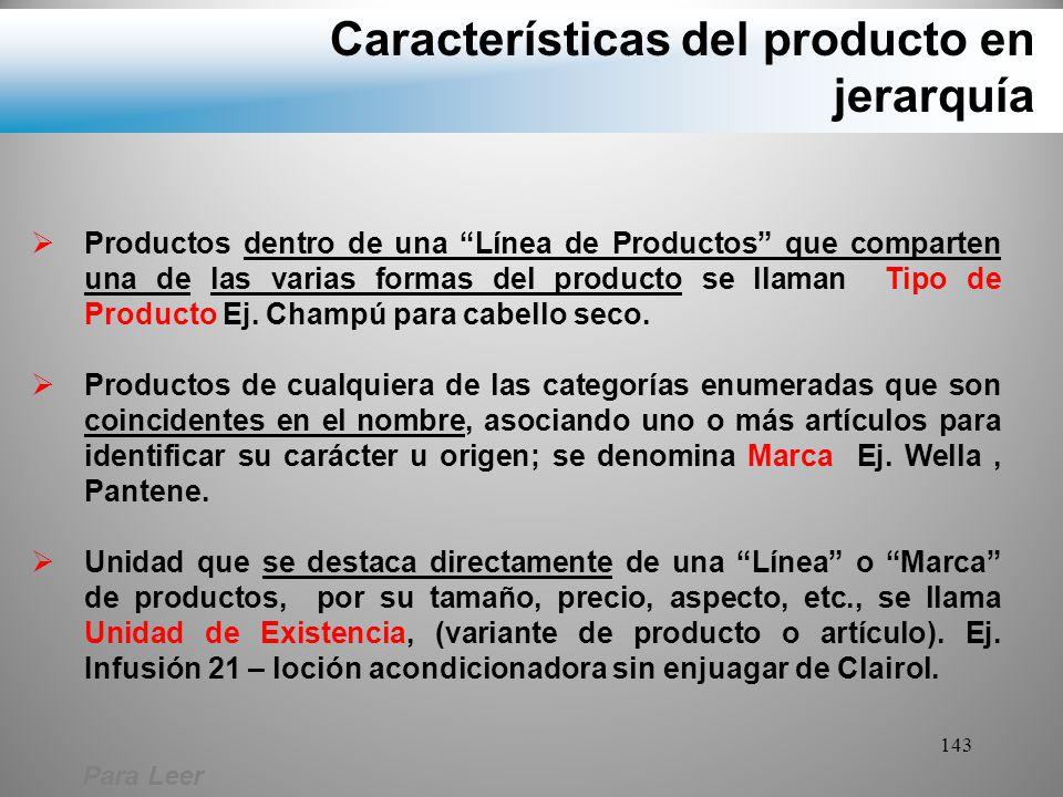 Características del producto en jerarquía