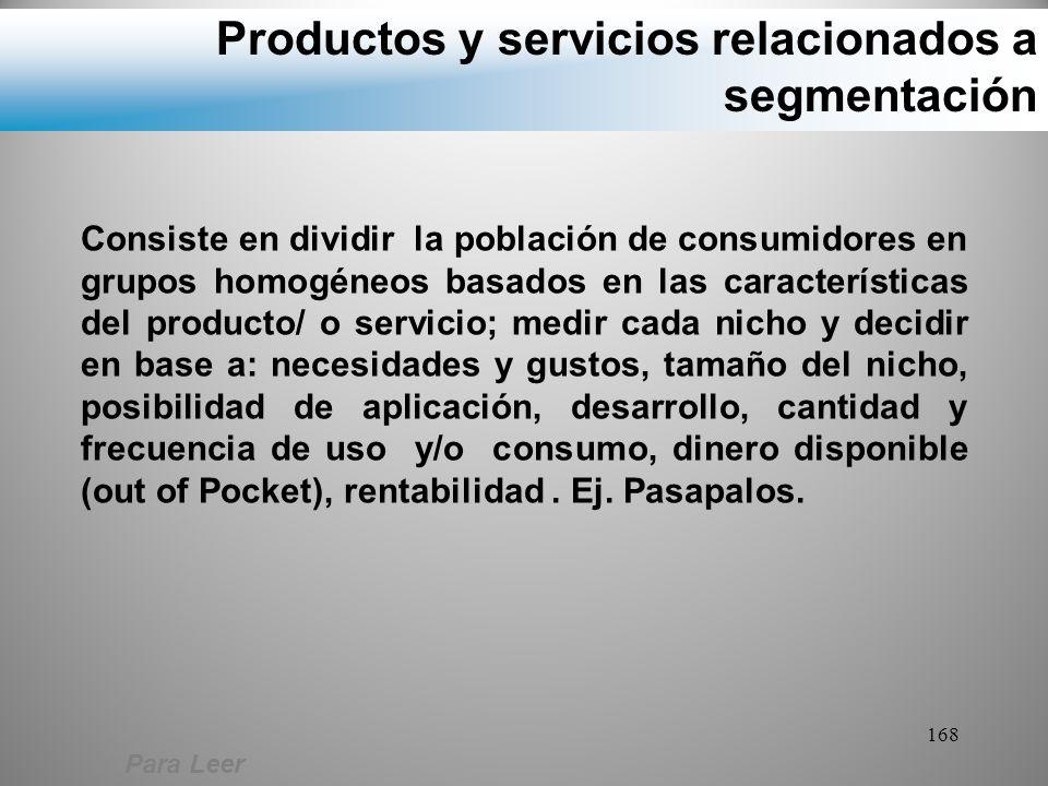 Productos y servicios relacionados a segmentación