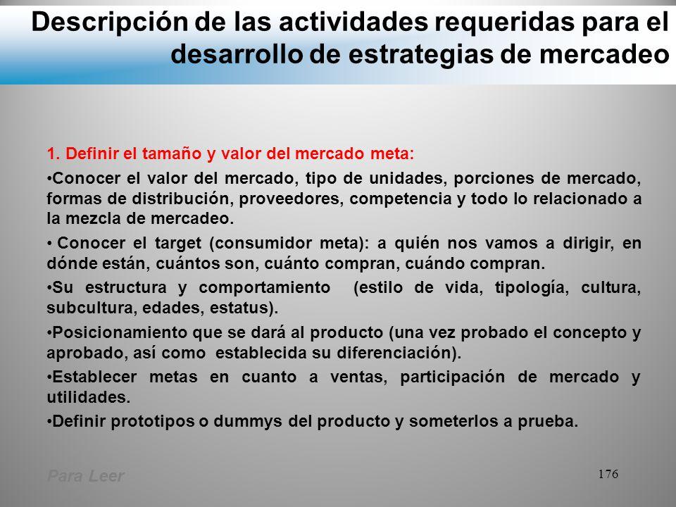 Descripción de las actividades requeridas para el desarrollo de estrategias de mercadeo