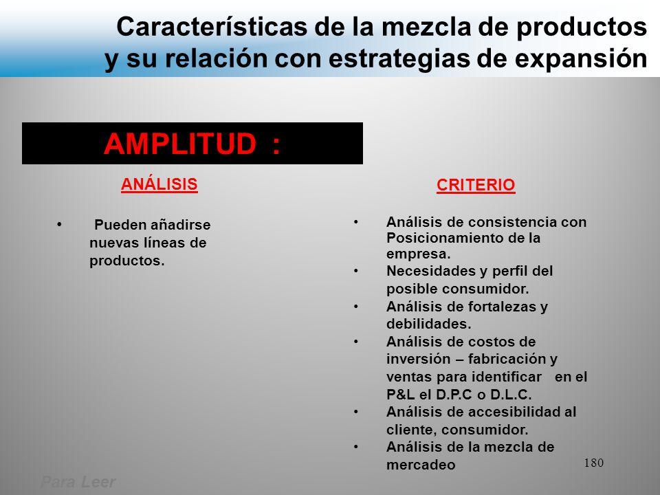 Características de la mezcla de productos y su relación con estrategias de expansión