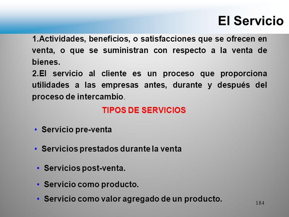 El Servicio 1.Actividades, beneficios, o satisfacciones que se ofrecen en venta, o que se suministran con respecto a la venta de bienes.