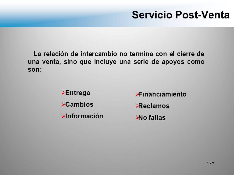 Servicio Post-Venta La relación de intercambio no termina con el cierre de una venta, sino que incluye una serie de apoyos como son: