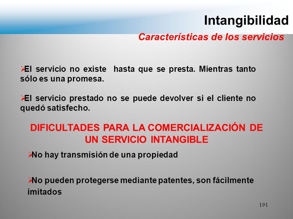 DIFICULTADES PARA LA COMERCIALIZACIÓN DE UN SERVICIO INTANGIBLE