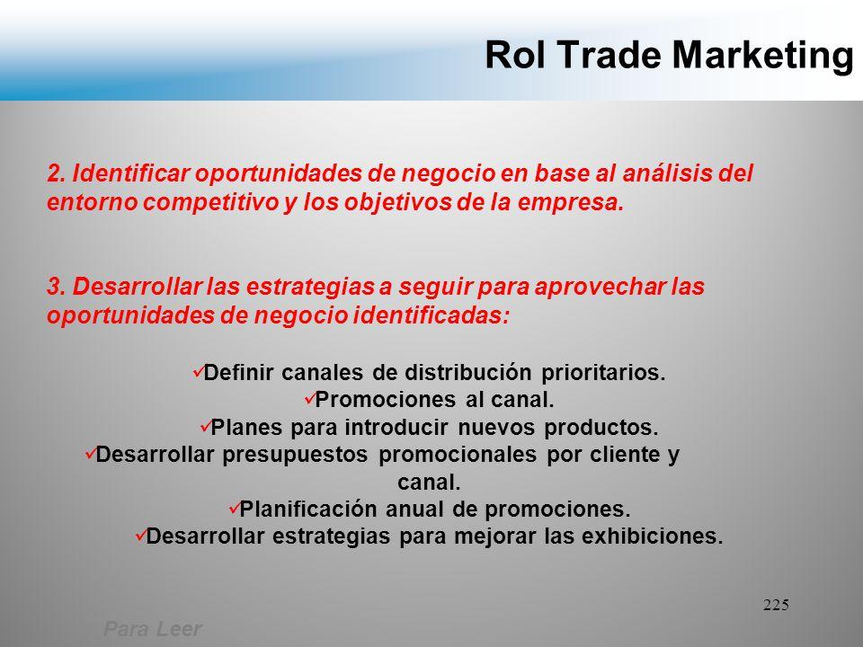 Rol Trade Marketing 2. Identificar oportunidades de negocio en base al análisis del entorno competitivo y los objetivos de la empresa.