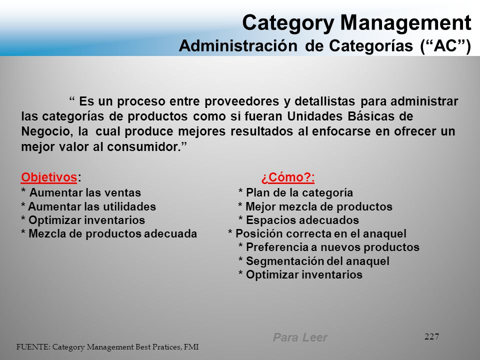 Category Management Administración de Categorías ( AC )