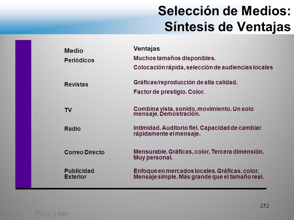 Selección de Medios: Síntesis de Ventajas