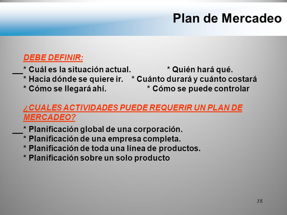 Plan de Mercadeo DEBE DEFINIR: