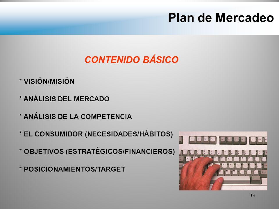 Plan de Mercadeo CONTENIDO BÁSICO VISIÓN/MISIÓN ANÁLISIS DEL MERCADO