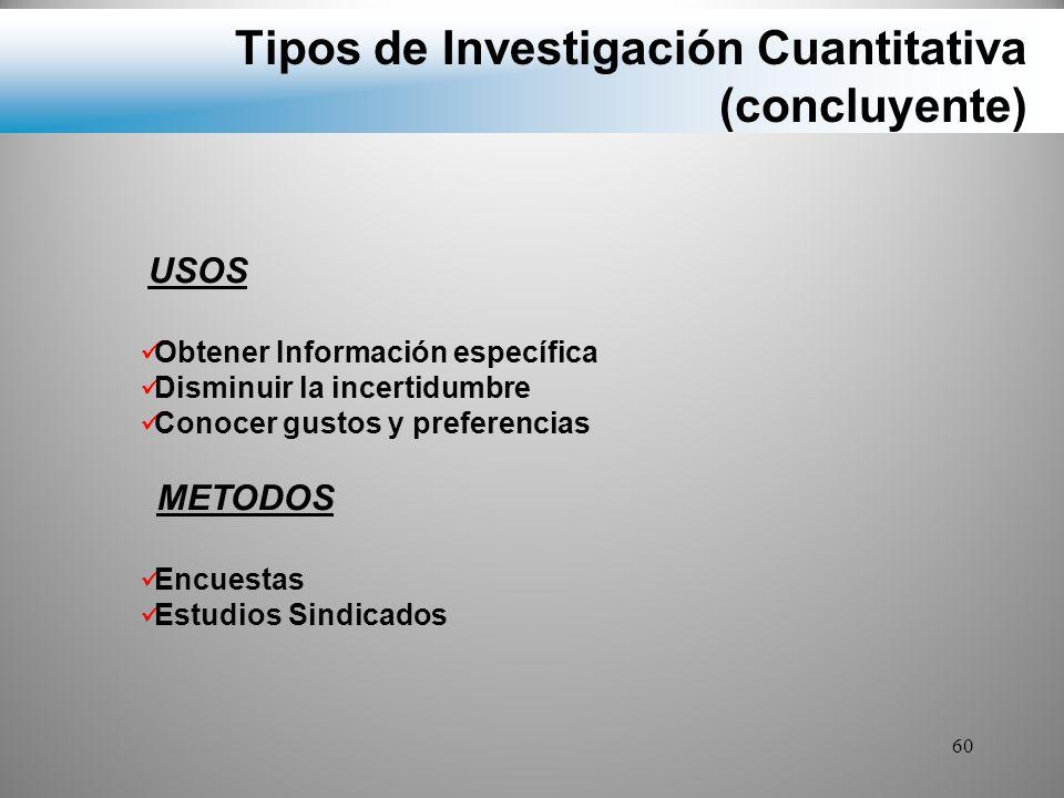Tipos de Investigación Cuantitativa (concluyente)