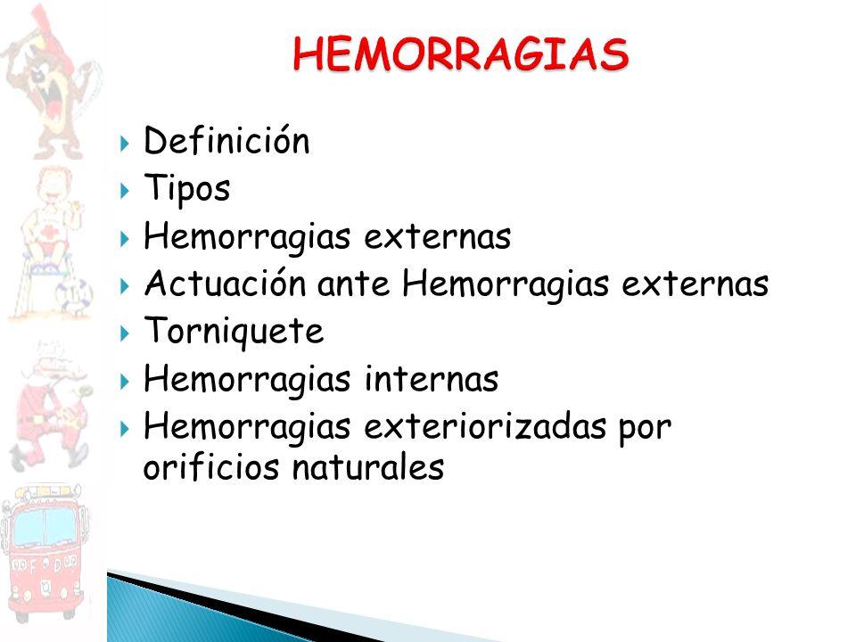 HEMORRAGIAS Definición Tipos Hemorragias externas