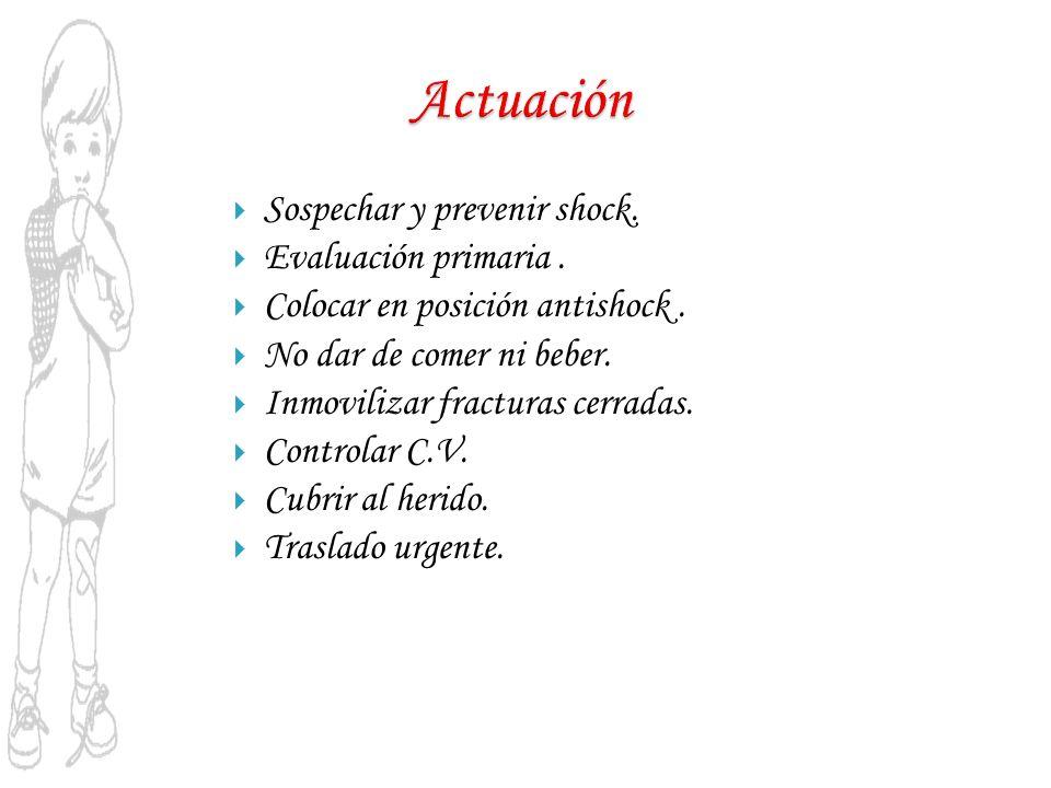 Actuación Sospechar y prevenir shock. Evaluación primaria .