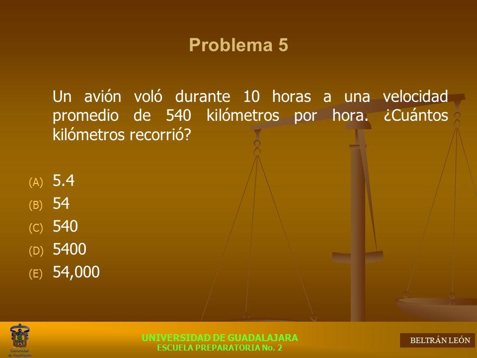 Problema 5 Un avión voló durante 10 horas a una velocidad promedio de 540 kilómetros por hora. ¿Cuántos kilómetros recorrió