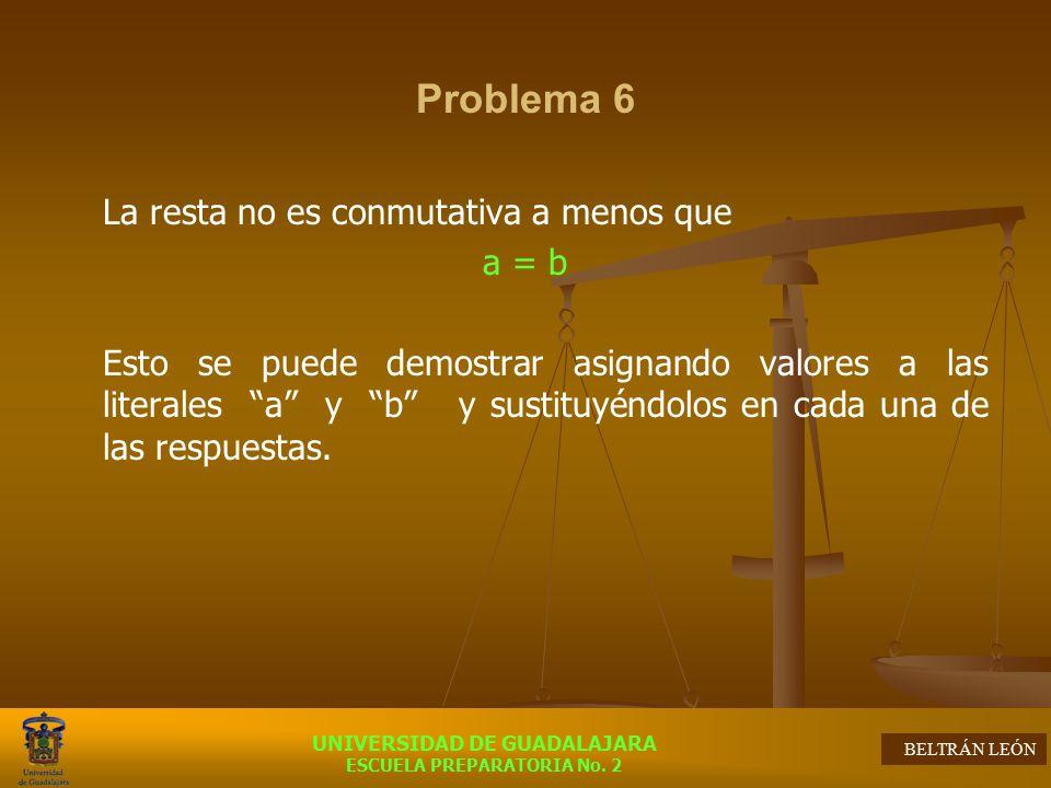 Problema 6 La resta no es conmutativa a menos que a = b