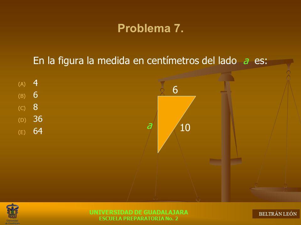 Problema 7. En la figura la medida en centímetros del lado a es: 6 a