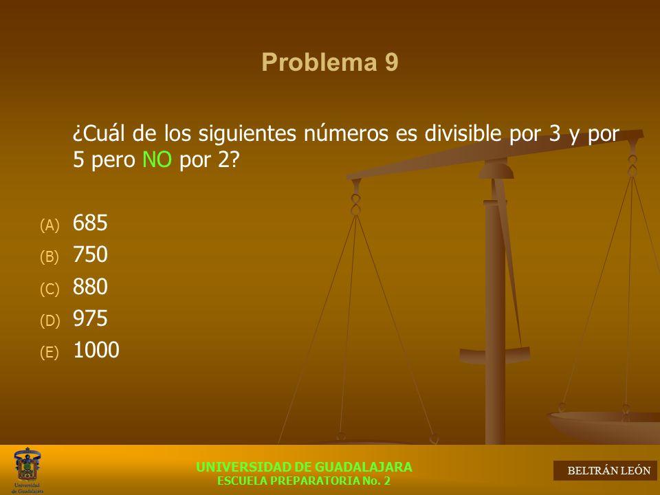 Problema 9 ¿Cuál de los siguientes números es divisible por 3 y por 5 pero NO por 2 685. 750. 880.