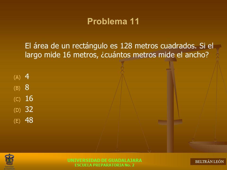 Problema 11 El área de un rectángulo es 128 metros cuadrados. Si el largo mide 16 metros, ¿cuántos metros mide el ancho