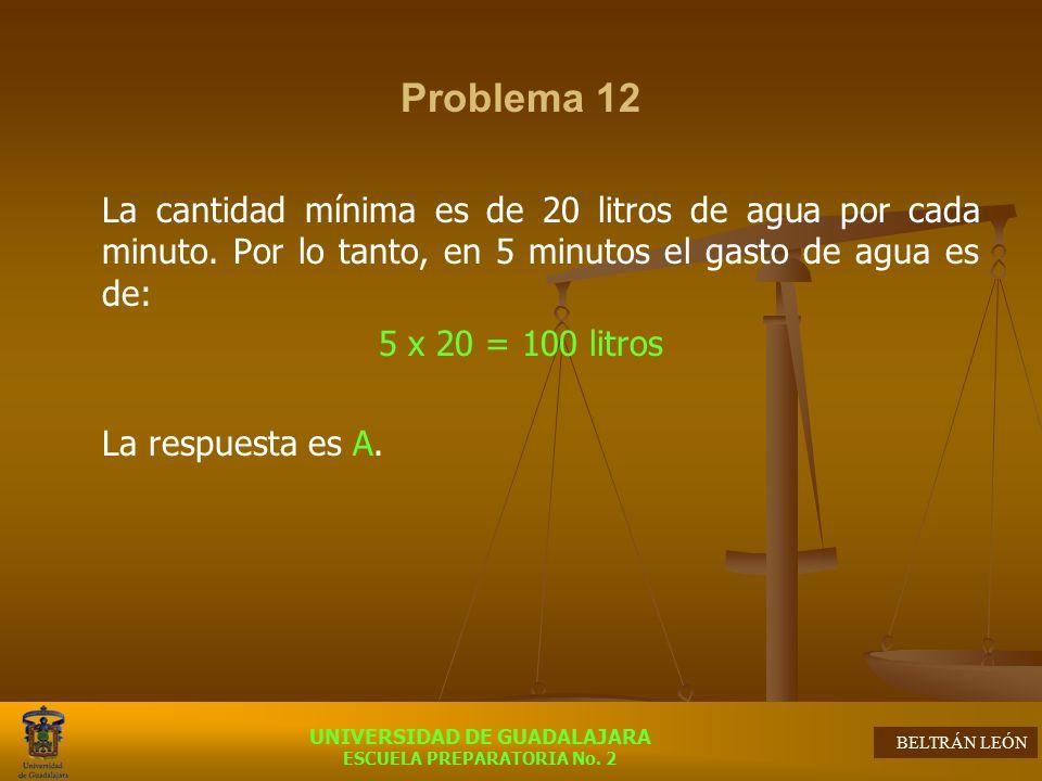 Problema 12 La cantidad mínima es de 20 litros de agua por cada minuto. Por lo tanto, en 5 minutos el gasto de agua es de:
