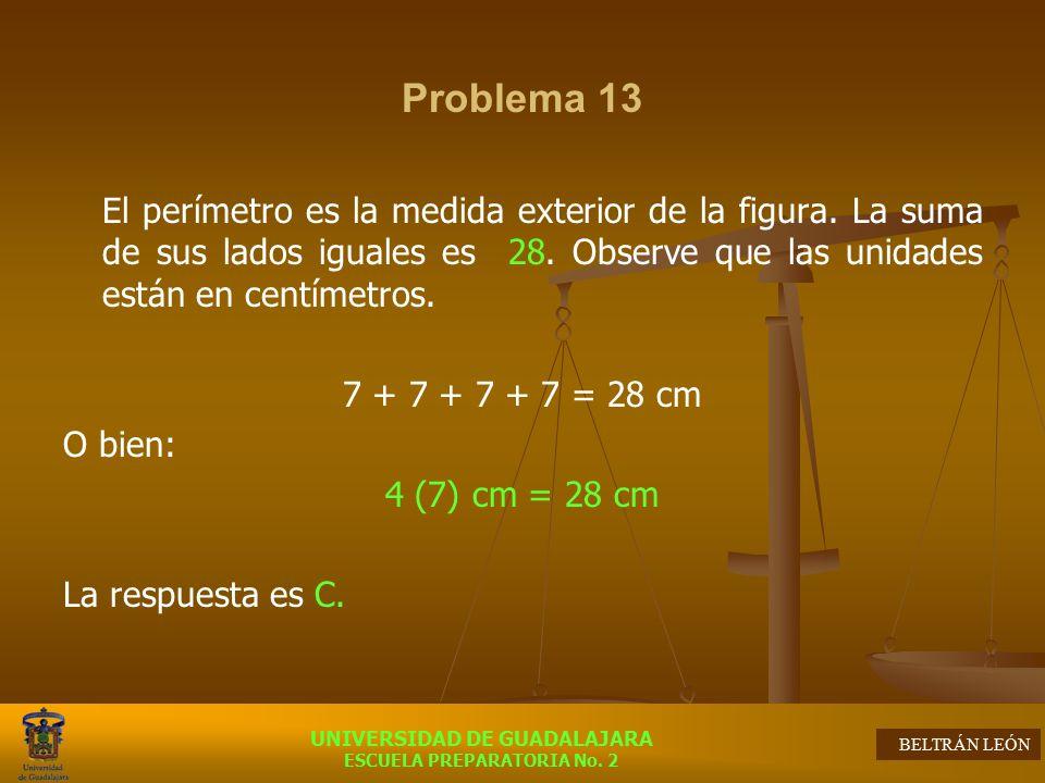 Problema 13 El perímetro es la medida exterior de la figura. La suma de sus lados iguales es 28. Observe que las unidades están en centímetros.