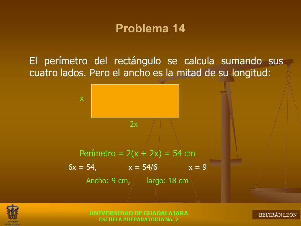 Problema 14 El perímetro del rectángulo se calcula sumando sus cuatro lados. Pero el ancho es la mitad de su longitud: