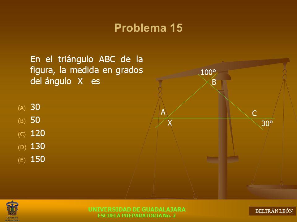 Problema 15 En el triángulo ABC de la figura, la medida en grados del ángulo X es. 30. 50. 120.