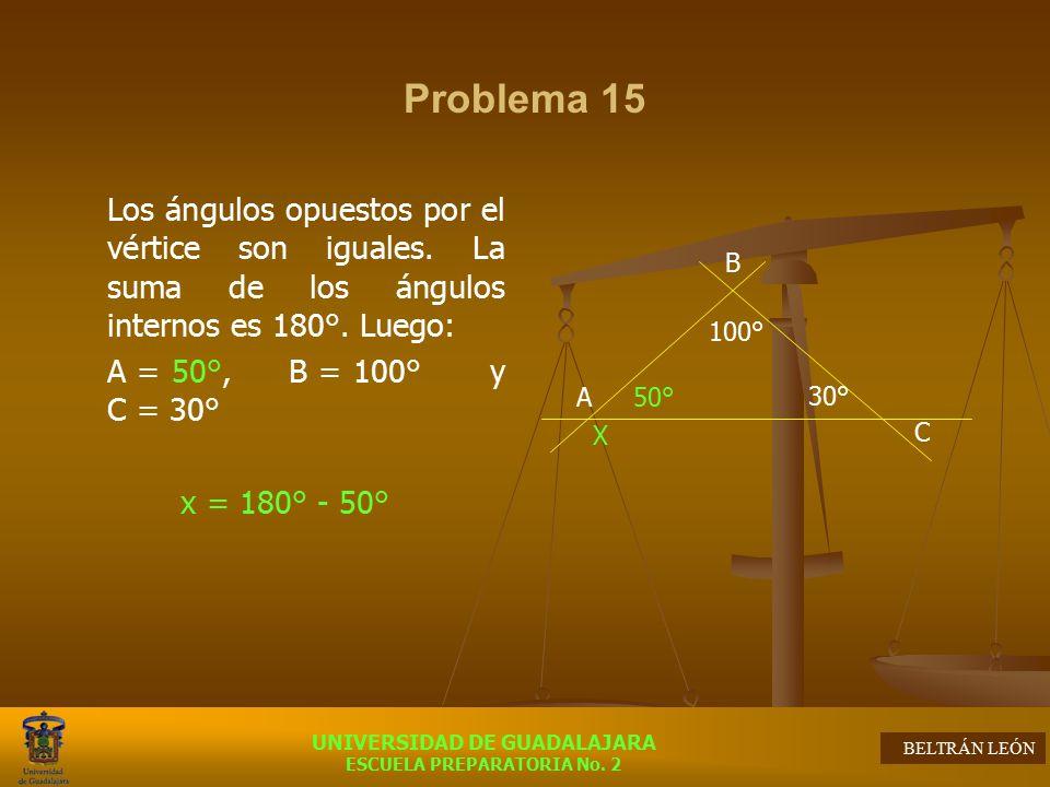 Problema 15 A = 50°, B = 100° y C = 30° x = 180° - 50°