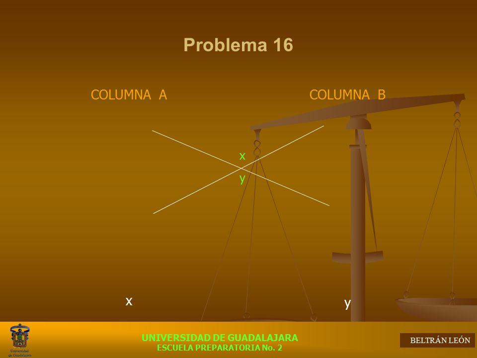 Problema 16 COLUMNA A x COLUMNA B y x y