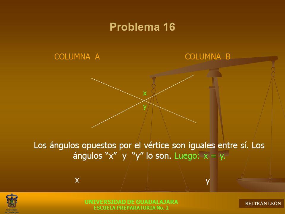 Problema 16 COLUMNA A. x. COLUMNA B. y. x. y.