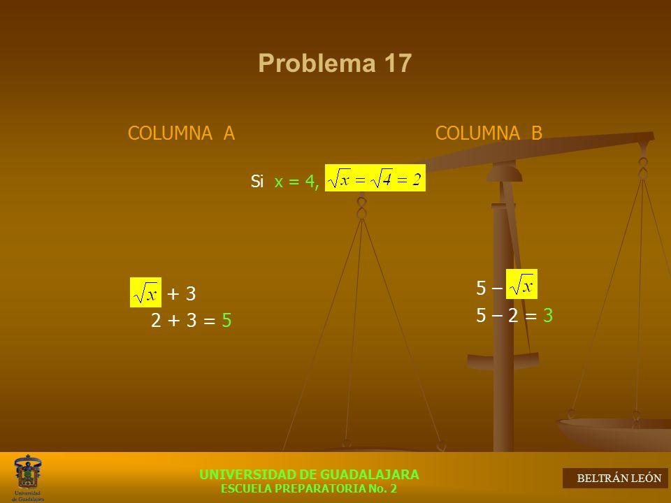 Problema 17 COLUMNA A + 3 2 + 3 = 5 COLUMNA B 5 – 5 – 2 = 3 Si x = 4,