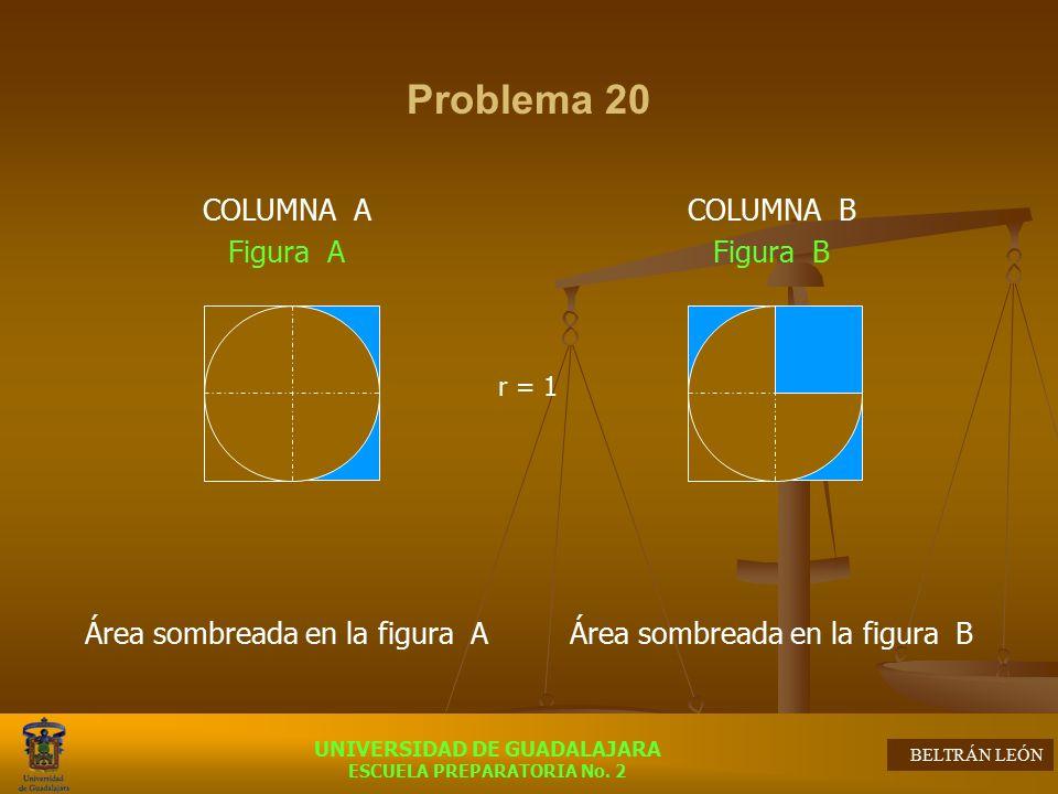 Problema 20 COLUMNA A Figura A Área sombreada en la figura A COLUMNA B