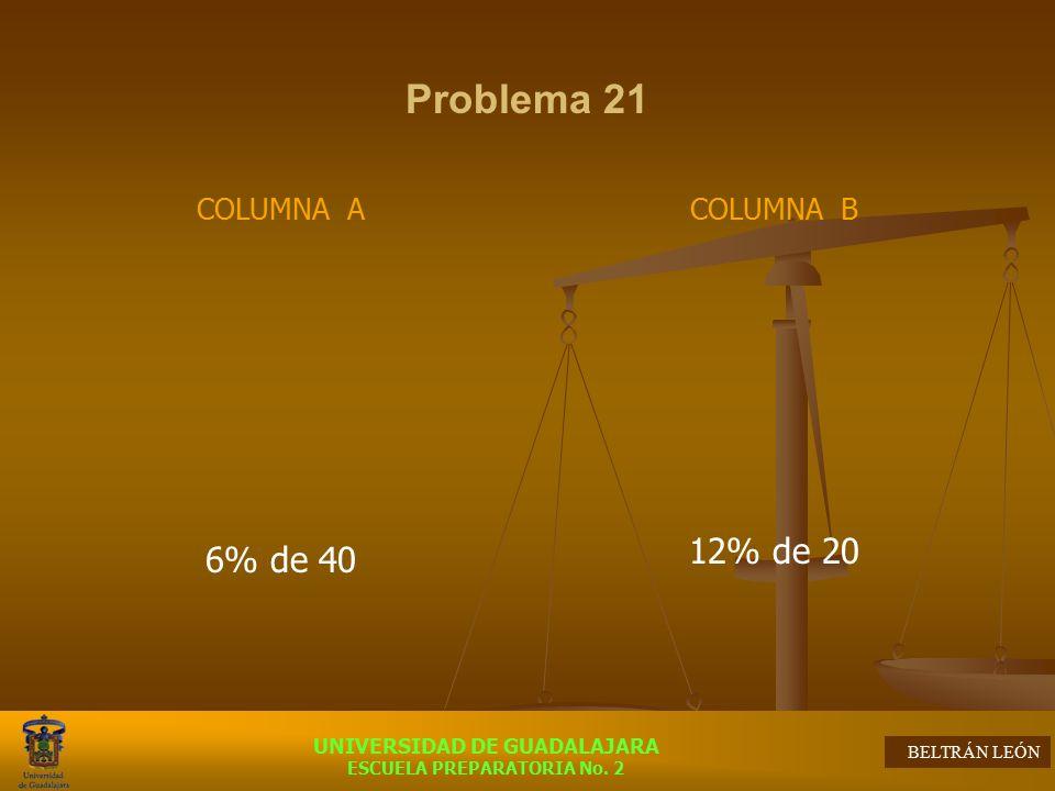 Problema 21 COLUMNA A 6% de 40 COLUMNA B 12% de 20