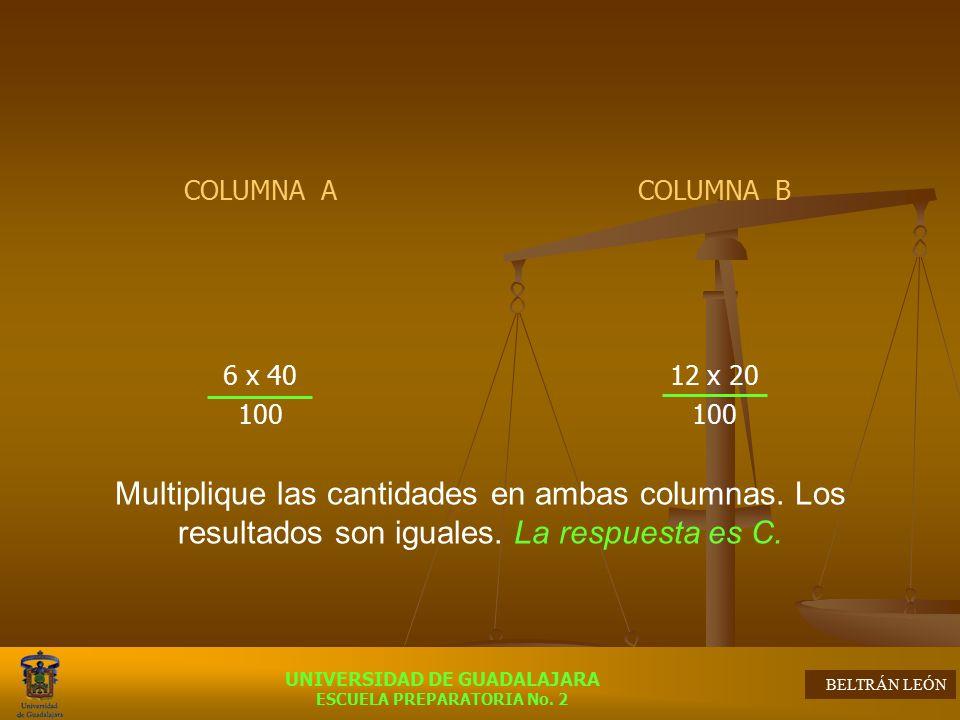 COLUMNA A 6 x 40. 100. COLUMNA B. 12 x 20.