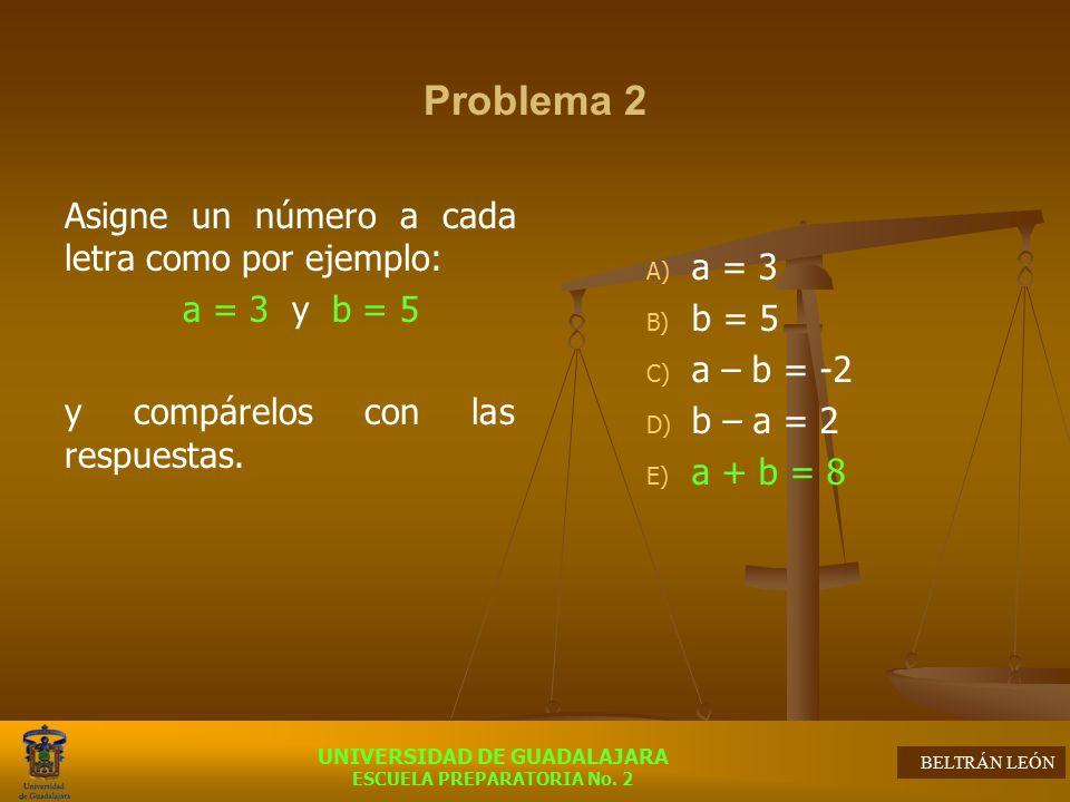 Problema 2 Asigne un número a cada letra como por ejemplo: a = 3