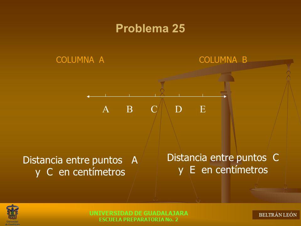 Problema 25 Distancia entre puntos A y C en centímetros