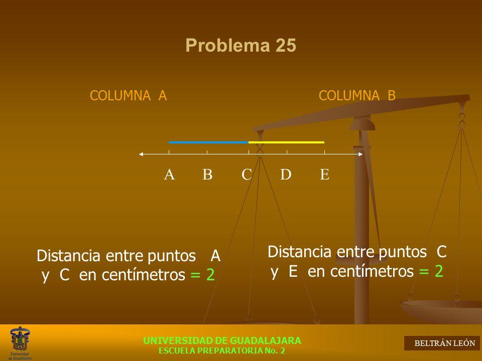 Problema 25 Distancia entre puntos A y C en centímetros = 2