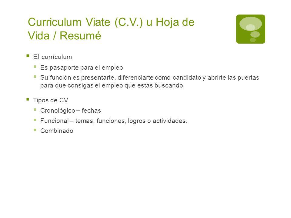 Curriculum Viate (C.V.) u Hoja de Vida / Resumé