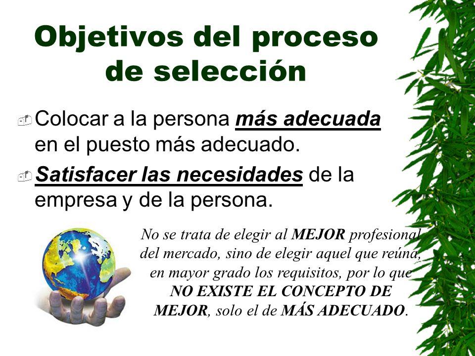 Objetivos del proceso de selección