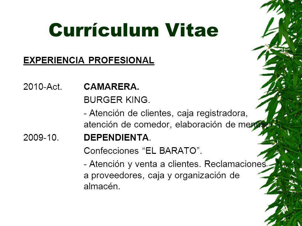 Currículum Vitae EXPERIENCIA PROFESIONAL 2010-Act. CAMARERA.