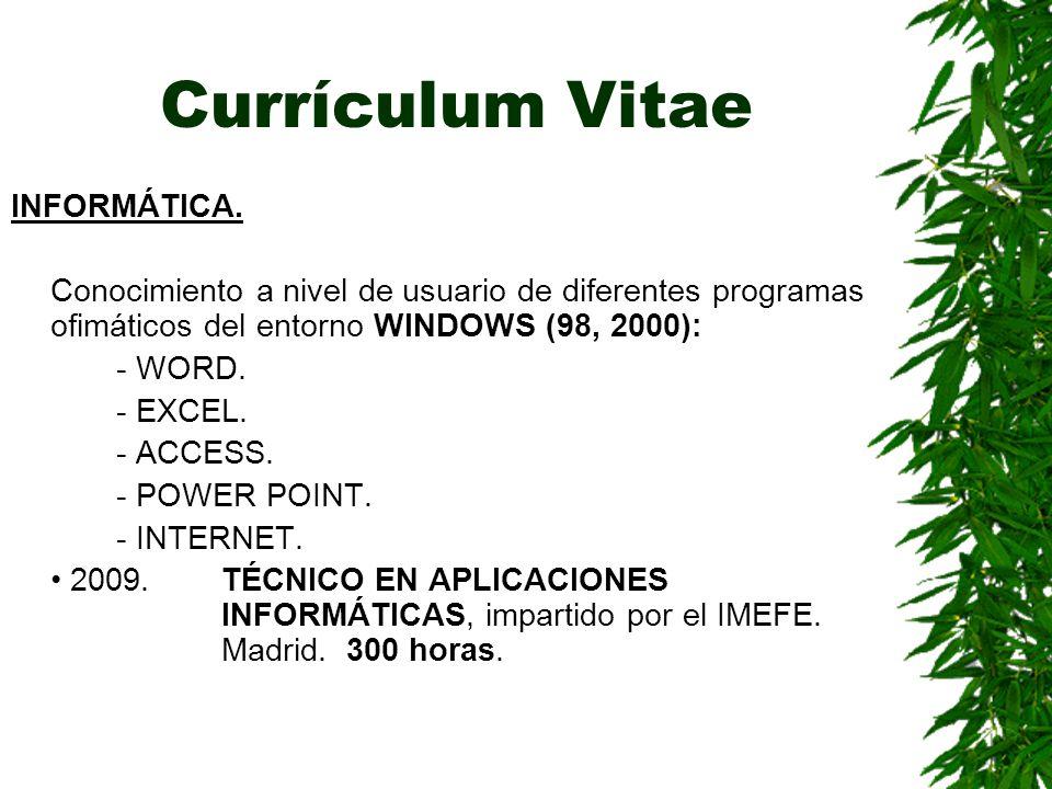 Currículum Vitae INFORMÁTICA.