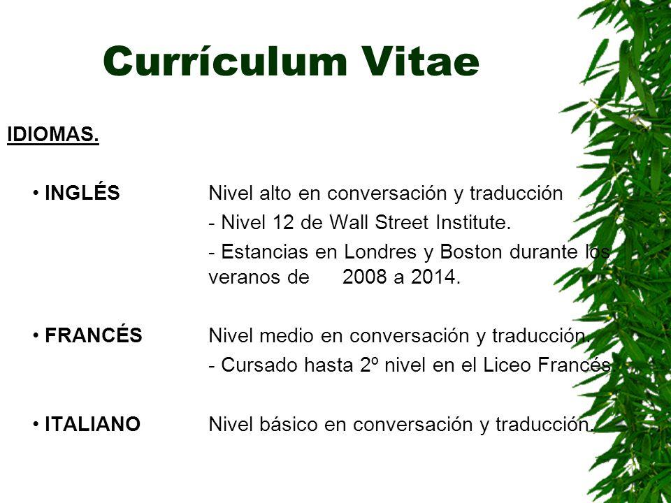 Currículum Vitae IDIOMAS.