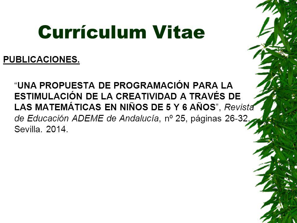 Currículum Vitae PUBLICACIONES.
