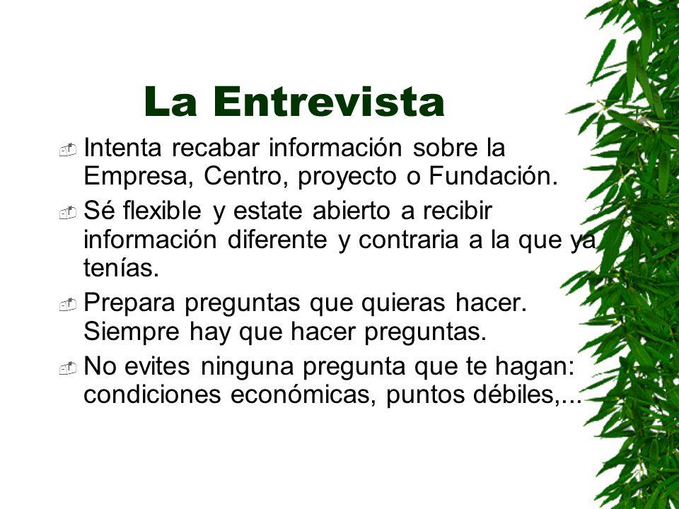 La Entrevista Intenta recabar información sobre la Empresa, Centro, proyecto o Fundación.