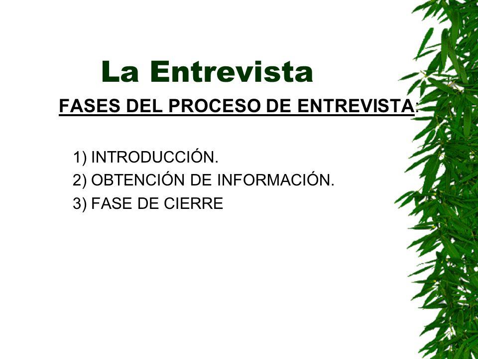 FASES DEL PROCESO DE ENTREVISTA: