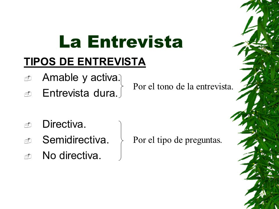 La Entrevista TIPOS DE ENTREVISTA Amable y activa. Entrevista dura.