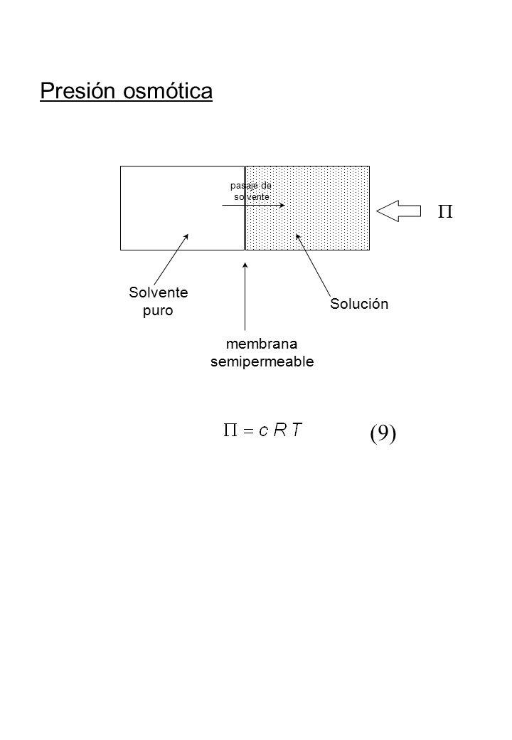Presión osmótica (9) P Solvente puro Solución membrana semipermeable