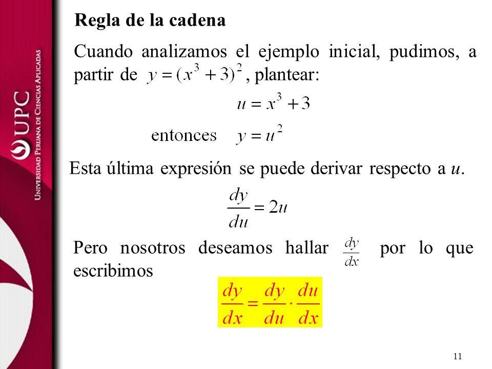 Regla de la cadena Cuando analizamos el ejemplo inicial, pudimos, a partir de , plantear: Esta última expresión se puede derivar respecto a u.