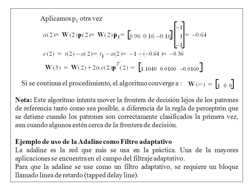 Aplicamos p1 otra vez Si se continua el procedimiento, el algoritmo converge a :