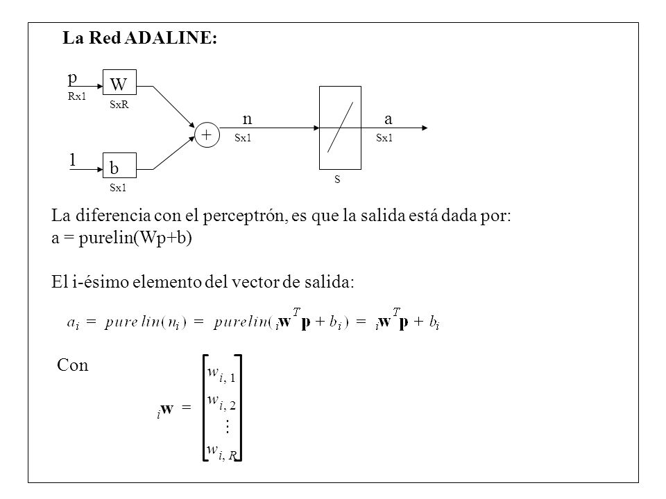 La diferencia con el perceptrón, es que la salida está dada por: