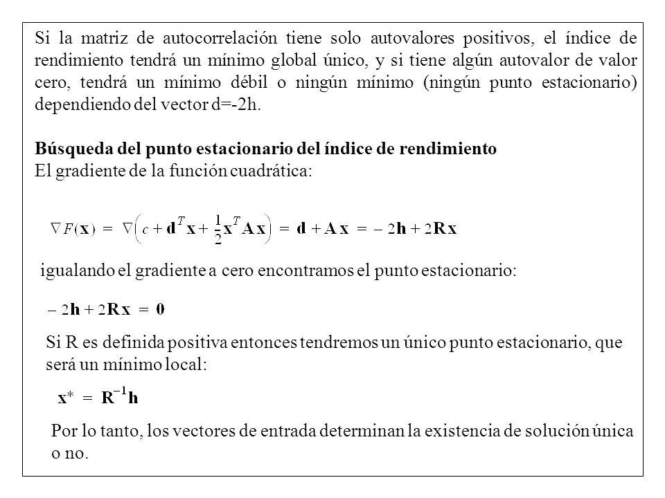 Si la matriz de autocorrelación tiene solo autovalores positivos, el índice de rendimiento tendrá un mínimo global único, y si tiene algún autovalor de valor cero, tendrá un mínimo débil o ningún mínimo (ningún punto estacionario) dependiendo del vector d=-2h.