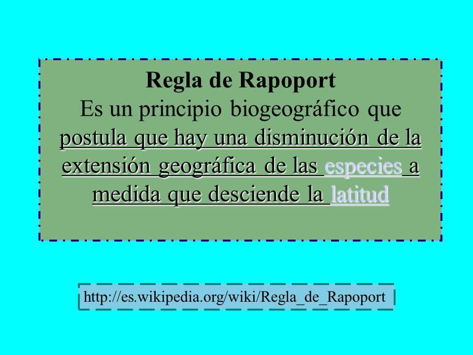Regla de Rapoport Es un principio biogeográfico que postula que hay una disminución de la extensión geográfica de las especies a medida que desciende la latitud